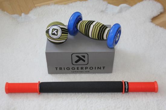 Tiger tail (pinnen), foot roller (med hjul) och boll